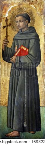 POREC, CROATIA - DECEMBER 12: Antonio Vivarini: Saint Francis of Assisi, Altarpiece in Euphrasian Basilica in Porec, Croatia on December 12, 2011