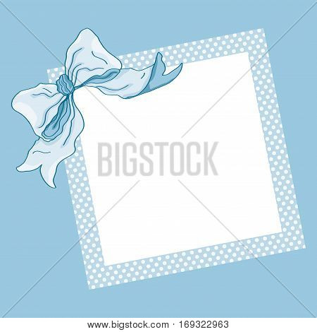 Scalable vectorial image representing a blue frame and ribbon background.