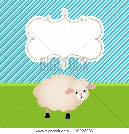 Scalable vectorial image representing a greeting card with cute sheep background.