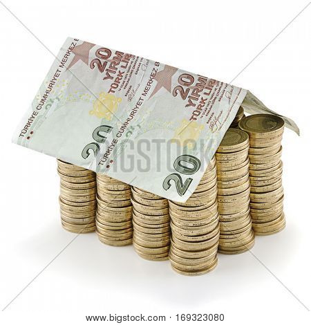 House Shaped Turkish Lira Banknotes and Coins Isolated
