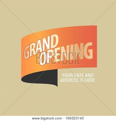 Grand opening vector illustration. Template design element decoration for opening ceremony can be used as banner or background
