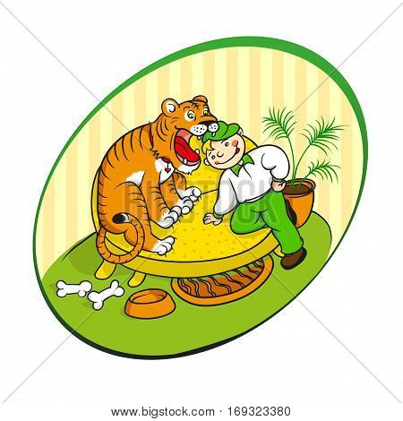 veterinarian inspects the teeth of the home tiger