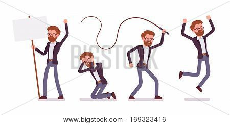 Set of young male manager expressing emotions, affective riot, crying, jumping with extreme joy, angry and punishing with whip, full length, isolated against white background