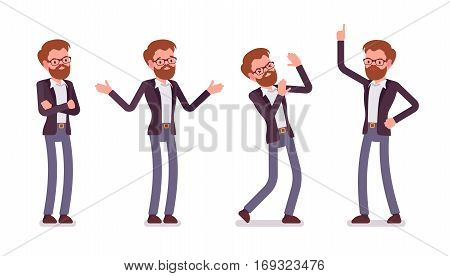 Set of young unhappy male manager in formal wear, showing negative emotions, lack of funding, bad business decision, crisis, crossed hands, aggressive, full length, isolated against white background