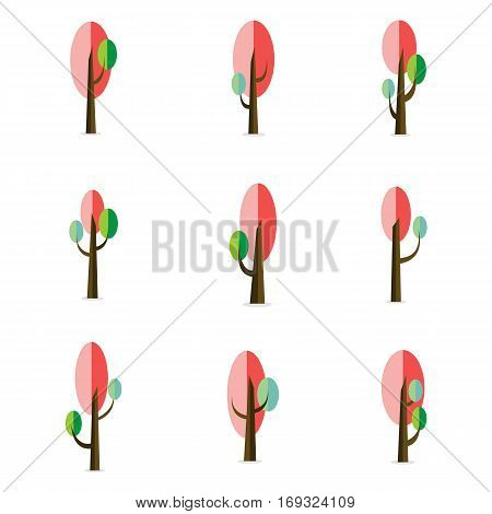 vector flat of tree various set collection stock