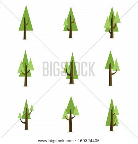 Tree set style collection stock vector flat