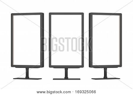 Blank billboards with copy space for your content. Empty Lightboxes on white background. 3D Rendering