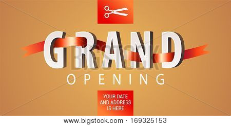 Grand opening vector illustration background. Design element with elegant premium style sign scissors cutting red ribbon for opening ceremony. Can be used as announcing banner