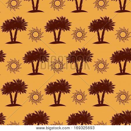 Desert seamless pattern with palm trees and sun, desert landscape on sand background. Vector illustration