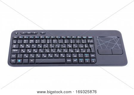 Computer Keyboard With Touchpad Isolated On White