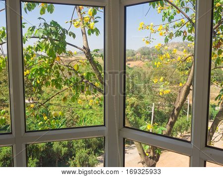 Nature in window. Frames and glass panels. Spend summer in countryside house and blue sky