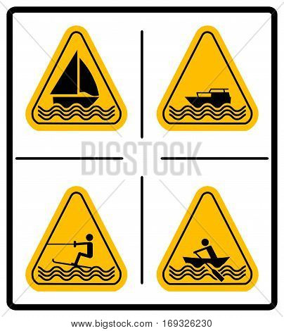 Beware water skiing, sailing, rowing, motorised craft area signs set. Warning signs in yellow triangle isolated on white. Vector illustration. Summer Water Sport Pictograms Flat icons