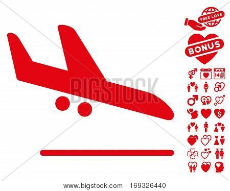 Aiplane Landing pictograph with bonus lovely pictograph collection. Vector illustration style is flat iconic red symbols on white background.