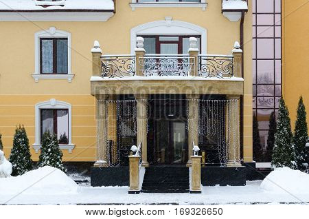 GOMEL BELARUS - JANUARY 12 2017: Entrance to small elite Park-Hotel Zamkovyj Gomel Belarus