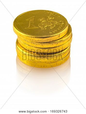 Chocolate coins of 1 euro isolated on white background