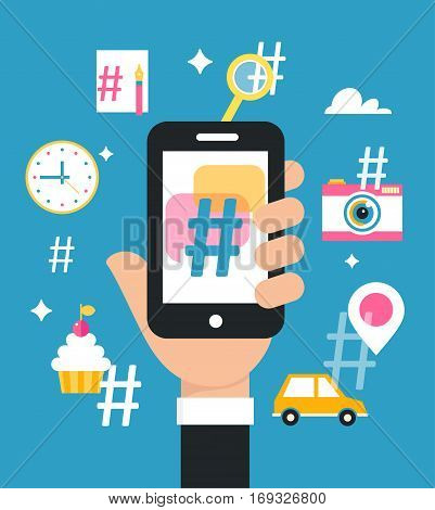 Holding Smart Phone with Hashtag Sign. Social Media Marketing Strategy Concept. Vector Design