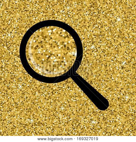 Seamless yellow high quality gold glitter texture with isolated loupe. Shimmer background. Vector illustration.