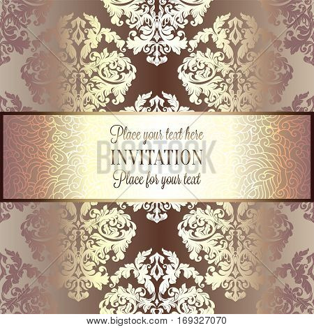 Baroque background with antique, luxury beige and gold vintage frame, victorian banner, damask floral wallpaper ornaments, invitation card, baroque style booklet, fashion pattern, template for design.