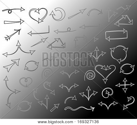 Black and White Hand Drawn Arrows isolated on Monochrome Background.Sketch Style. Prefect for Design. Vector Illustration.