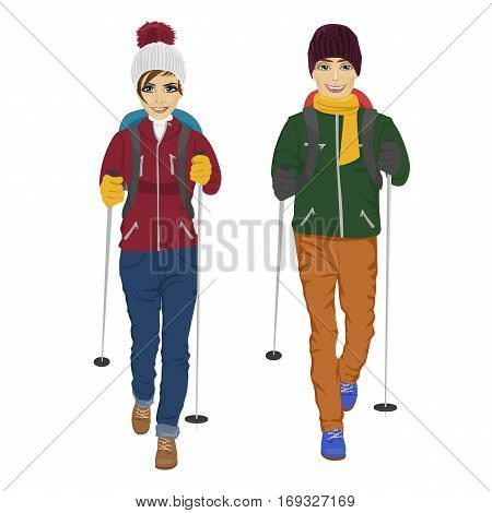 young couple with backpack and hiking walking sticks over white background