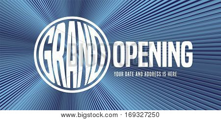 Grand opening vector banner illustration with magnifier can be used as background for opening ceremony