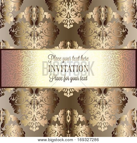Baroque background with antique, luxury beige, brown and gold vintage frame, victorian banner, damask floral wallpaper ornaments, invitation card, baroque style booklet, fashion pattern.