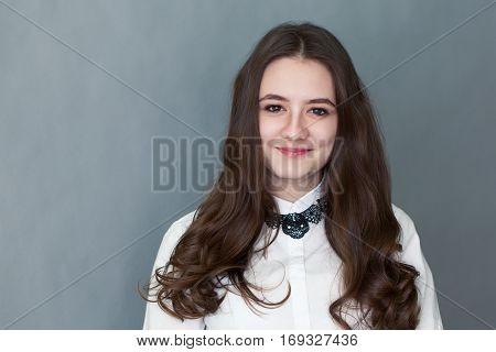 Portrait Of Happy Nice Schoolgirl Teenager