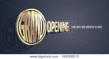 Grand opening vector banner with magnifying glass. Template design element for opening ceremony can be used as background or poster