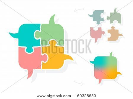 Jigsaw puzzle piece bubbles symbolizing collaborative speech and idea sharing unity concept isolated on white background vector illustration