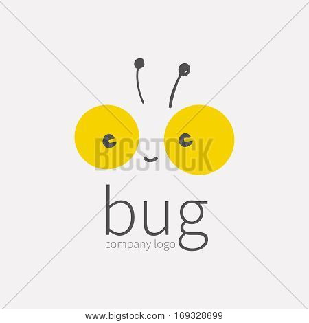 Bug logo, insect icon.Smiling cute little face, Kawai, linear cartoon tipster.Symbol for company, for digital and print projects.vector illustration isolated on white background