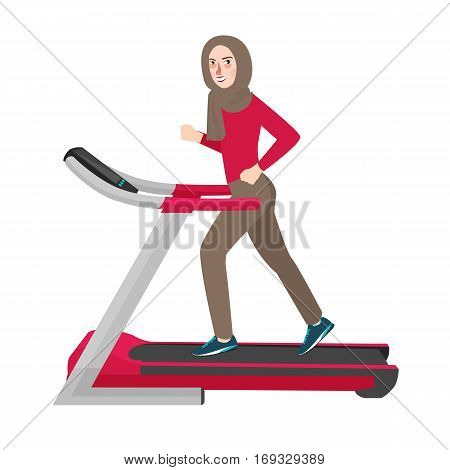 woman wearing hijab Islam run in tradmill sport activities active fit vector illustration