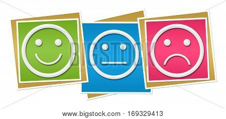 Smile neutral sad faces over colorful background.