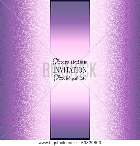 Romantic background with luxury purple and lilac vintage frame, victorian banner, made of feathers wallpaper ornaments, invitation card, baroque style booklet, fashion pattern.