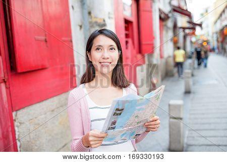 Woman visit Rua da Felicidade in macao city