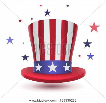 Uncle sam hat symbol of Presidents day. Isolated on white vector illustration
