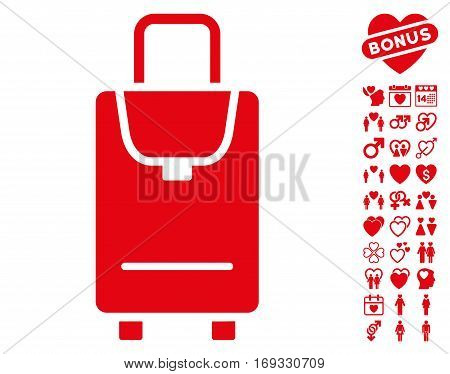 Carryon icon with bonus valentine design elements. Vector illustration style is flat iconic red symbols on white background.