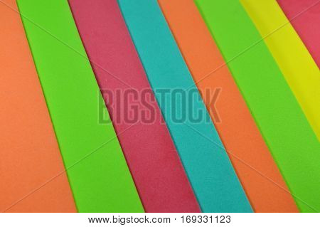 close up of color foam rubber board stacking