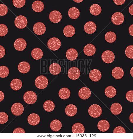 Sausage seamless pattern. Slices of sausage on black background.