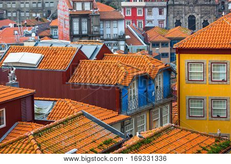 View of the houses in old town Porto, Portugal.