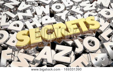 Secrets Classified Confidential Personal Information Word 3d Illustration