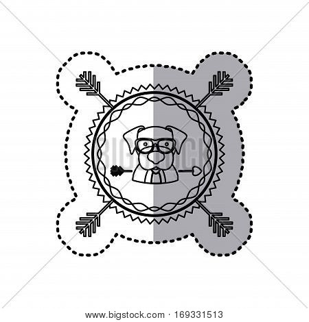 stamp sticker silhouette beagle dog animal with accesories vector illustration