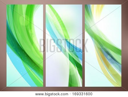 Set Of Abstract Green Wave Backgrounds For Poster, Flyer, Bunner Templates. Vector Illustration. Spr