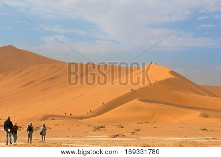 people walking in the morning to the top of Big Daddy dune, Soss
