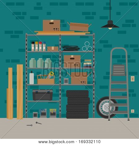 Garage interior with metal storage. Vector banner of garage or storeroom in flat style.