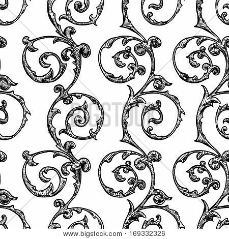 Seamless vintage baroque renaissance and damask pattern. Vector illustration background in ink hand drawn style.