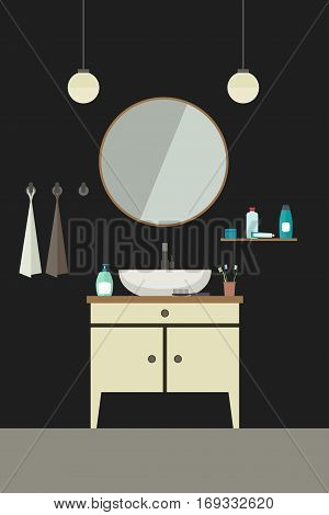 Bathroom illustration with sink in flat style. Vector banner of bathroom.
