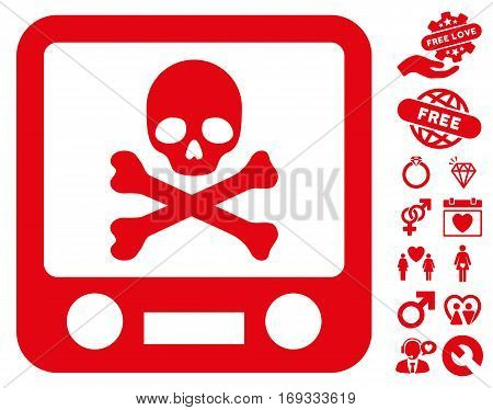 Xray Screening pictograph with bonus dating icon set. Vector illustration style is flat iconic red symbols on white background.