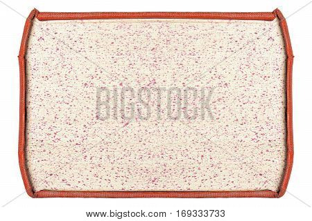 paper sheets in red cover frame isolated on white background