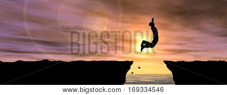 Concept conceptual 3D illustration young man businessman silhouette jump happy from cliff over water gap sunset sunrise sky background banner for freedom, nature, mountain, succes free joy health risk