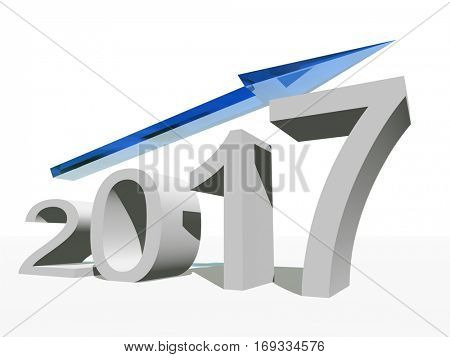 Conceptual 3D illustration blue 2017 year symbol with an arrow on background for success growth graph future finance financial new year holiday increase rise date career, forecast, December progress